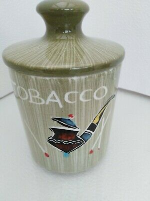 Retro 1950's POTTERY TOBACCO JAR & COVER Pipe & Matches Hand Painted • 5£