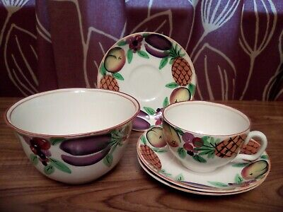 Vintage Hand Painted Bursley Ware Set: Cup, 3 Saucers And Dish • 8.50£