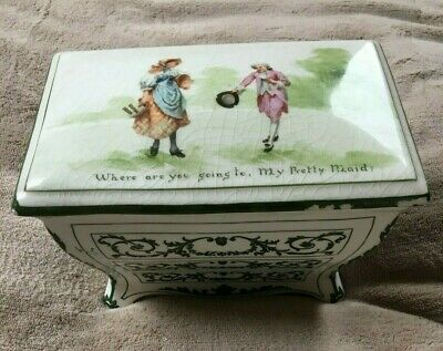 "RARE ROYAL DOULTON FOR HUNTLEY & PALMERS BISCUIT BOX "" My Pretty Maid"" 1905 • 45£"
