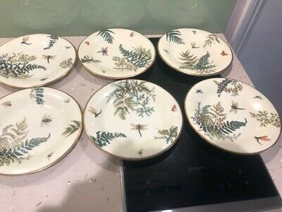 Set Of 6 Victorian Ceramic Dessert Plates ; Insect And Butterfly Design ; VGC • 6.99£