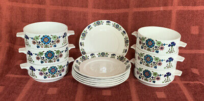 Vintage Midwinter Country Garden By Jessie Tait, 6 Soup Dishes & Plates • 10£