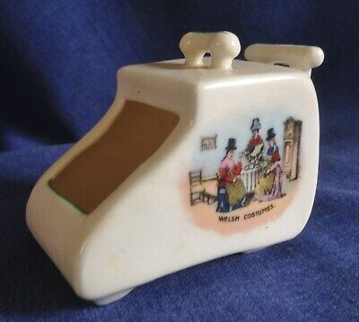 Crested China. Welsh Costumes. Coal Scuttle. • 3£