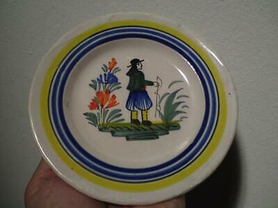 Perfect 1940s French Henriot Quimper Faience Breton Man Small Pottery Plate • 20£