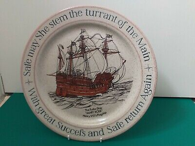 Purbeck Pottery English Stoneware Mary Rose Commemorative Charger Plate  • 10£