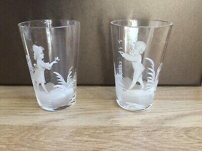 Pair Of Antique Mary Gregory Style Glass Beakers • 0.99£