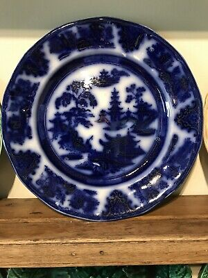Antique Flow Blue  Shanghai  Pattern Plate - Stunning Colour Of Blue • 20£