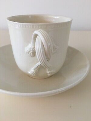 Vintage Leeds Pottery Creamware Twisted Handle Cup And Saucer • 5£