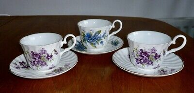 Vtg Hammersley Aynsley English Fine Bone China Violet Forget Me Not Cups Saucers • 14.99£
