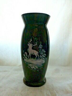 Victorian Black Glass Vase With White Enamel  Hand Painted Stag • 8.01£
