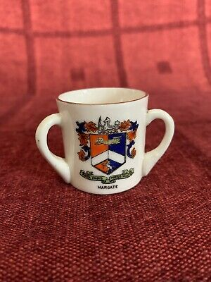 The Coronet Ware Crested China Three Handled Cup, Margate • 3.50£