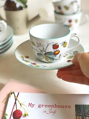 Vintage Wild Strawberries Tea Cup And Saucer 'Strawberry Fair' ROYAL WORCESTER • 7.99£