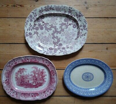 Three Antique Victorian Transfer Printed Pearlware Dishes C1835 - 1865 • 0.99£