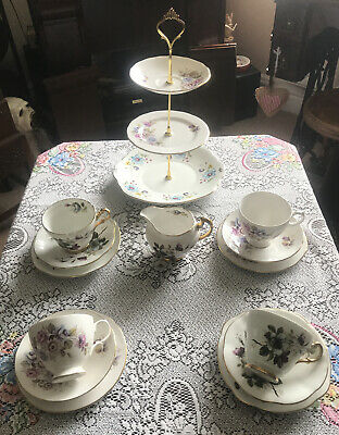 Pretty Vintage China Mismatched Tea Set & 3 Tier Cake Stand Floral New Price • 28£