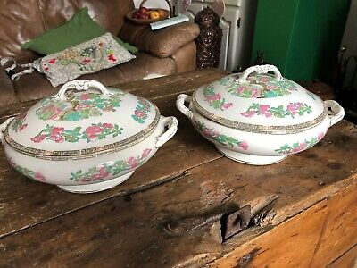 2 X Vintage John Maddock & Sons  Lidded Serving Dish Pink Flowers • 39.95£