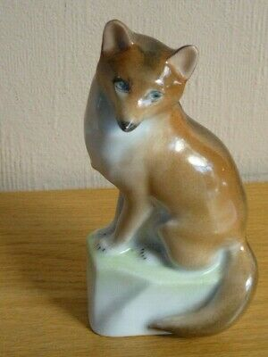 Herend Hand Painted Ornament Sitting Fox Porcelain Figurine 5  High Hungary • 25£