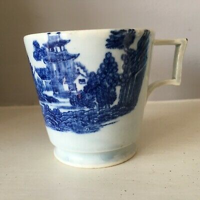 18th Century / Early 19th Blue And White Pearlware Cup Boy On A Buffalo Spode ? • 15£
