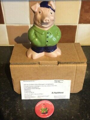 Natwest Cousin Wesley Wade Pig 100% Genuine With Slip, Box & Rare Badge • 185£