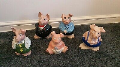 Natwest Pigs -full Set Of 5 By Wade With Original Stoppers - Excellent Condition • 0.99£