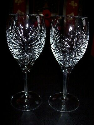 2 X ROYAL DOULTON CRYSTAL KESWICK 7.5  WINE GLASSES Signed Discontinued 2009 • 34.99£