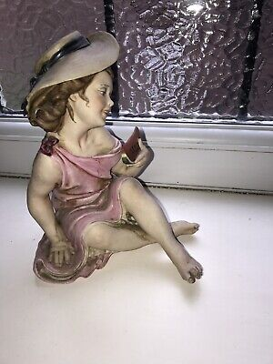 Vintage Signed Capodimonte Figure - Lady In A Summer Dress With Watermelon  • 30£