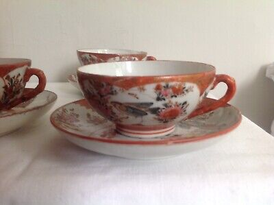 Collection Of 3 Vintage Decorative Tea Cups And Sauces - Japanese Imagery • 1.50£