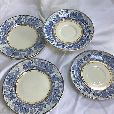 """Vintage Myott Son & Co Ye Olde Willow 2 Saucers, 2 Small Plates & 1 9"""" Plate • 36£"""