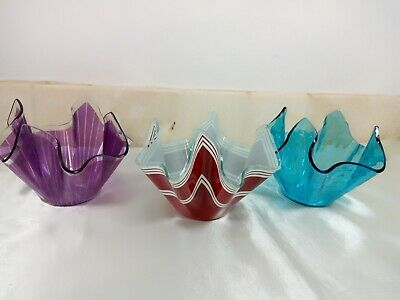A Trio Of Retro ,   Chance Glass   Handkerchief Bowls • 15.99£