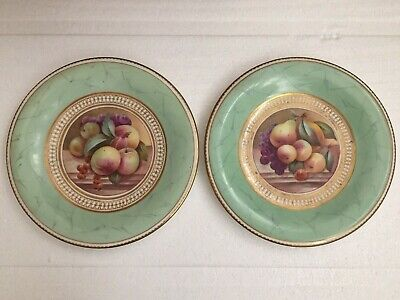 Pair Of English Porcelain Marbled Cabinet Plates - Painted By Thomas Steele 1830 • 21£