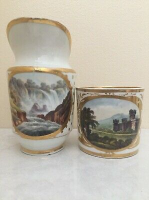 Derby Porcelain Blue Mark Milk Jug Plus Named View In Italy Coffee Can C1790 • 4.99£