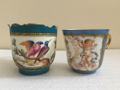 Sevres Porcelain Superb Pair Of Cups One With Floral Encrusted Handle C1800's • 129.99£