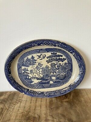 Very Old Antique Willow Pattern Meat Plate Oval Centrepiece • 22£