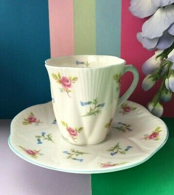 Vintage Shelley China Coffee Set Coffee Cup & Saucer,Coffee Duo,Roses,Bluebells • 14.95£
