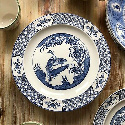 Blue & White Luncheon Plate YUAN By Wood & Son Salad, Pasta, Dinner Transferware • 7.99£