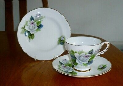 Vtg Royal Sutherland English Fine Bone China Blue Rose Cup Saucer Plate Trio • 9.99£