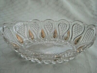 Pretty  ~  Oval  ~  Glass  ~ Bowl  ~  Clear With Gold Pattern • 0.99£