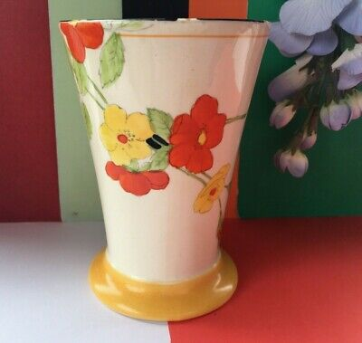 Rare Art Deco Crown Ducal   Scarlet Glory   Hand Painted Footed Vase - 11 Cm • 24.99£