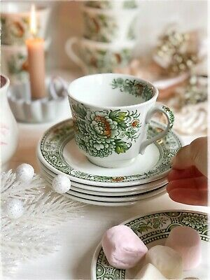 Tea Cup And Saucer 'Canterbury' RIDGWAY Staffordshire Green Transferware Coffee • 8.99£
