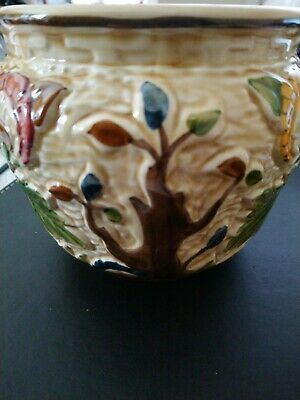 Indian Tree Handpainted H J Wood Staffordshire England Textured Decorated Pot • 10£