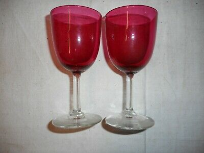 Pair Of Cranberry Glass Wine Glasses • 20£