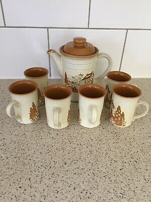 Vintage Ashdale Pottery Stoneware 7 Piece Coffee Set • 14.99£