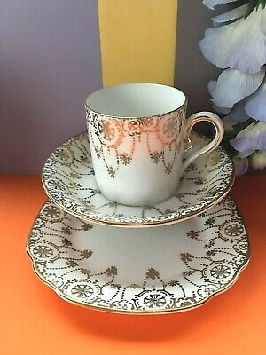 Vintage C1940 Pendant Crown China Coffee Set Trio,Coffee Can,Coffee Saucer,Plate • 4.95£