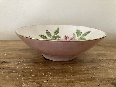 Old Vintage Hand Painted 1988 Bowl Purple Pastel And Flowers Art • 12£