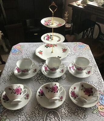 Pretty Tea Set & 3 Tier Mismatched Cake Stand Pink Flowers • 27£