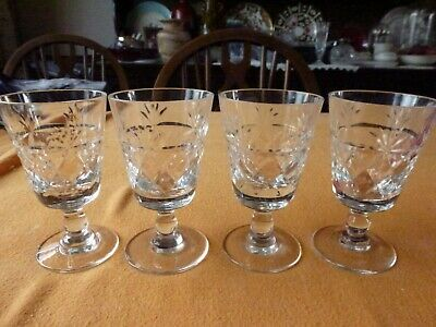 Beautiful Set Of 4 Crystal Glass Sherry Glasses. (still In Original Shop Present • 12.99£