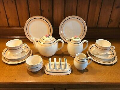 Art Deco Silver Gilded 13 Piece Solian Ware Soho Pottery Demitasse Teaset For 2  • 35£