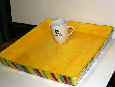 American Atelier 17.5x17.5in X Large Ceramic Tray Hand Painted Art Pottery L7 • 45£