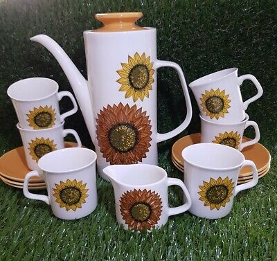 * VINTAGE* J&G MEAKIN Studio 'SUNFLOWER' DESIGN 1960s COFFEE SET 14 Piece • 39.99£