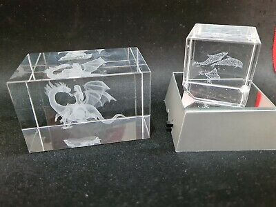 Rare Dragon Princess Dolphin Laser Etched Glass Crystal Paperweights Led Stand • 15£
