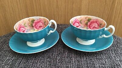Aynsley Bone China Cup & Saucer Turquoise With Large Pink Roses • 135£