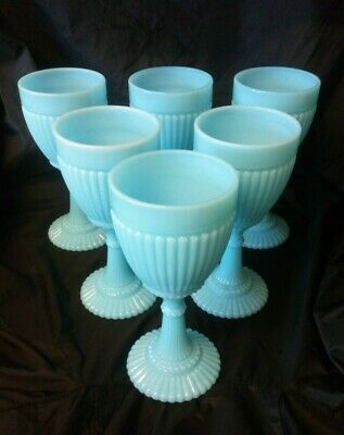 Portieux French Glass Blue Opalescent Goblet In Good Order 15 Cm Tall • 250£